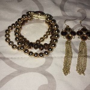 Jewelry - Brown and gold Bracelet and earring set